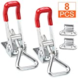 8Pcs Metal Toggle Latch, 360Lbs Holding Capacity Adjustable Toggle Clamp, Heavy Duty 4001 Style Hasp Clamp for Door, Box Case Trunk, Smoker Lid, Jig. Quick Release Pull Latch, Sturdy Metal Draw Latch (Color: Silver)