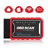 KINGBOLEN WiFi OBD2 Scanner OBD2 Car Code Reader Check Engine Light Diagnostic Tool for iOS Android & Windows Device, Supports All OBDII protocols (Tamaño: OBD SCAN WIFI)
