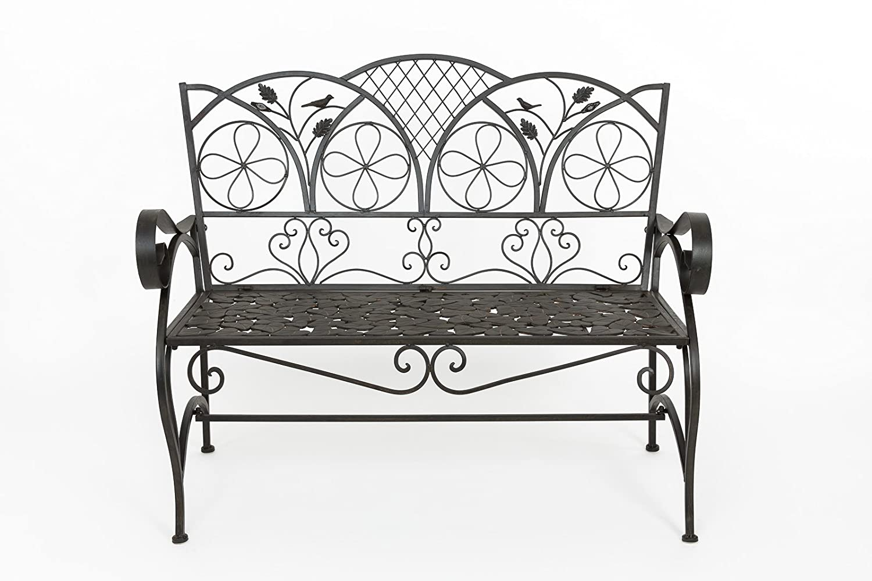 Gartenbank Eisen Bank Vogel Blatt Verzierung iron garden bench antik Stil braun