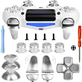 Z&Hveez Metal Buttons for PS4 Controller Gen 2, Metal Aluminum Bullet Buttons & L1 R1 L2 R2 Triggers & D-pad & Thumbsticks Replacement Kit for PS4 Slim/PS4 Pro DualShock 4 Controller (Metal Silver) (Color: Metal Silver)