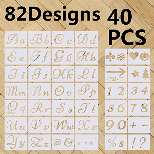 Letter Stencils,Alphabet Stencils with Calligraphy Font Upper and Lowercase Letters for Painting on Wood and Wall-Plastic Art Craft Stencils with Numbers and Signs-40 PCS(82 Designs) -8.27x5.9