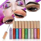 MS.DEAR Glitter Liquid Eyeshadow & Eyeliner Set 10 Colors,Eye Art Lid, Waterproof Sparkling Eyeliner for Christmas Parties, Cosplay, Masquerade (Color: 10 Colors Set)