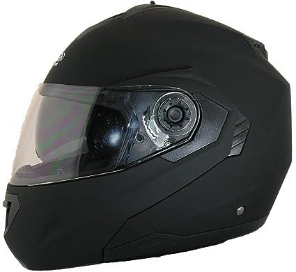 Casque de moto avec double visière relevable - noir, blanc ou argenté - Noir mat - M (57-58 cm)