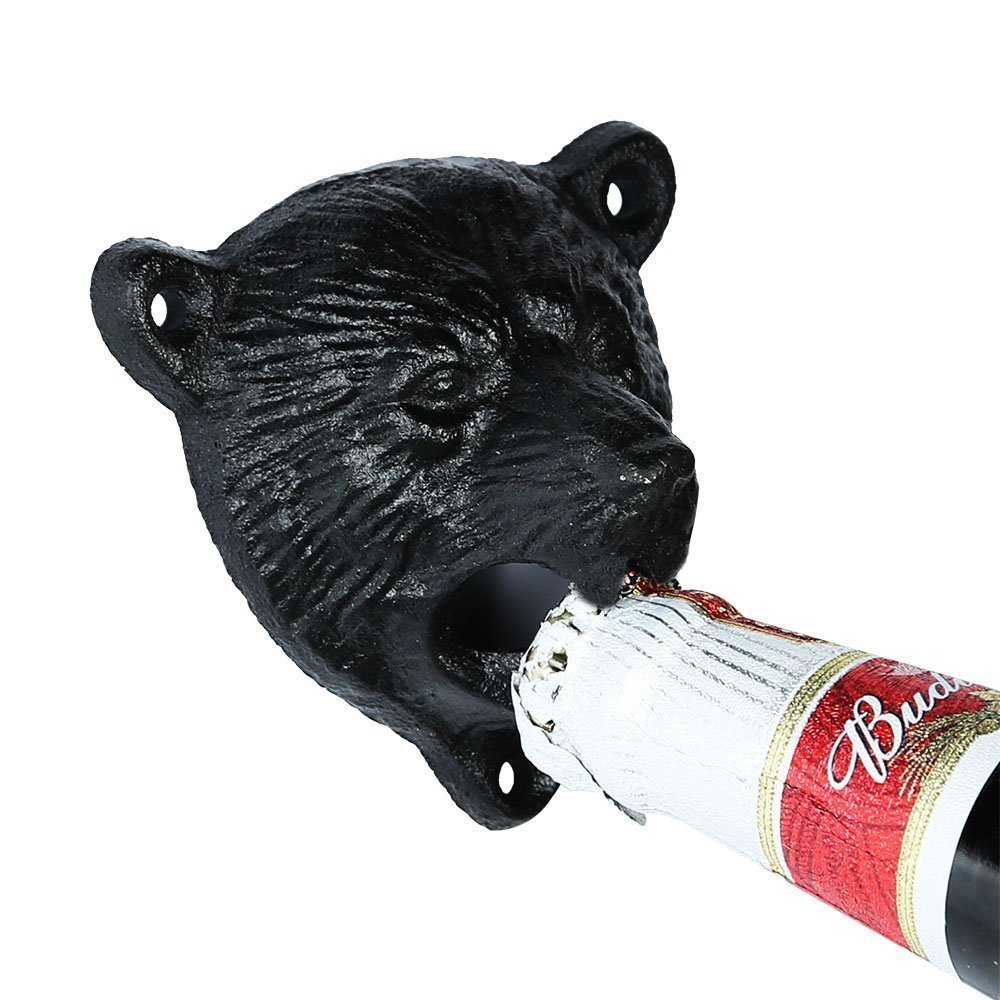 Cast Iron Wall Mount Grizzly Bear Teeth Bite Bottle Opener (Black) 1