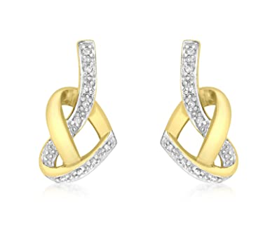Carissima Gold 9 ct Yellow Gold Diamond Heart Knot Stud Earrings