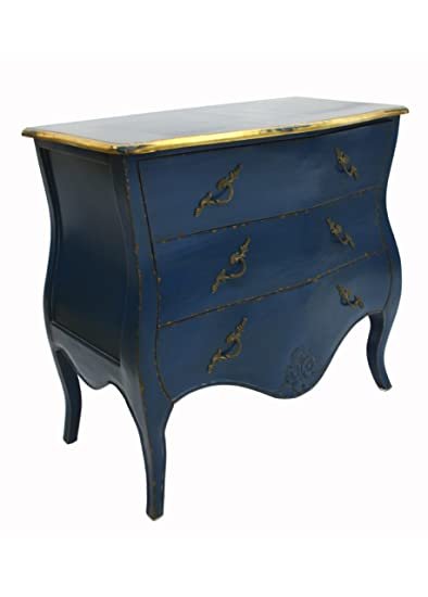 French Style Furniture Parisian Furniture Blue 3 Drawer Chest Painted