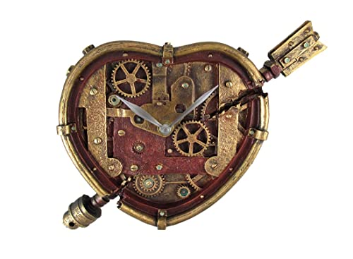 Steampunk Wall Clock Heart Pierced Cupid Gearwork Painted Resin [Toy]