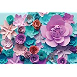 AOFOTO 8x6ft Handmade Paper Flower Backdrop Birthday Party Decoration Photography Background Baby Shower Kid Girl Woman Artistic Portrait Activity Banner Photo Shoot Studio Props Vinyl Wallpaper (Color: PF-A15, Tamaño: 8x6ft)