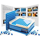 New Generation English Version Capsule Holder with Tamper, 100 Holes Tray for Capsules, Filling Tools (Blue #00) (Color: Blue, Green, Tamaño: Blue #00)