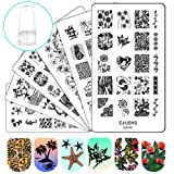 Ejiubas Nail Stamper Stamping Plates Nail Stamping Kit - 3pcs Double-sided Nail Stamp Plates & 1 pcs Clear Nail Polish Stamper Scraper (Color: Nail Stamping Kit)
