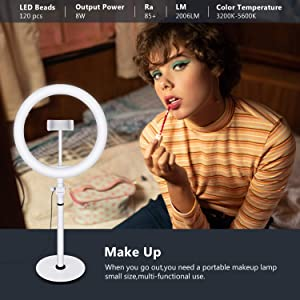 Neewer LED Ring Light, Table Top 10-inch USB Ring Light, Color Temperature 3200K-5600K 3 Light Modes with Flexible Smartphone Stand for Streaming Makeup YouTube Video Shooting Phone Selfie Photography
