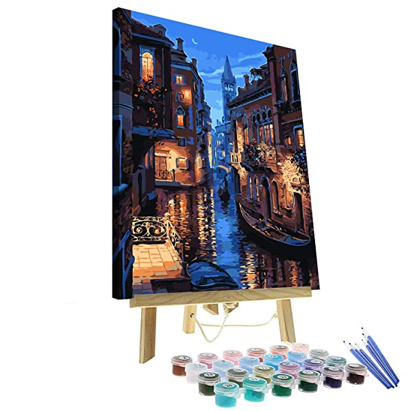 Paint by Numbers for Adults Kits with Wooden Frame and Easel The Giant Dimensions Plaid DIY Acrylic Oil Painting Kit for Adult Beginner on Canvas 16X20 Venice Evening (Tamaño: Wooden Framed)