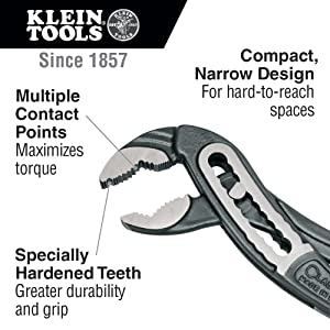 Classic Klaw Pump Pliers, 12-Inch Klein Tools D504-12 (Color: Yellow, Tamaño: 12-inch)