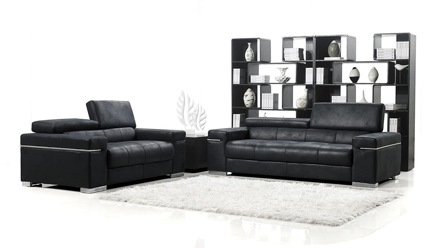 Black Angelo Suede Sofa With Loveseat
