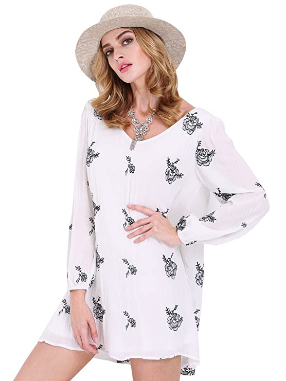 SheIn Women's Long Sleeve Floral Embroidery Dress
