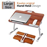 Kavalan Large Size Portable Laptop Table with Handle, Height & Angle Adjustable Sit and Stand Desk, Bed & Breakfast Table Tray, Foldable Notebook Stand Holder for Sofa Couch - American Cherry (Color: American Cherry Large)