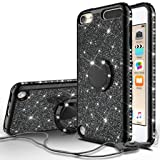 Compatible for Apple iPod Touch 6 Case, iPod Touch 5 Case, SOGA Cute Girl/Women Rhinestone Bumper Sparkling Glitter Bling Diamond Phone Cover with Magnetic Ring Stand - Black (Color: Black)