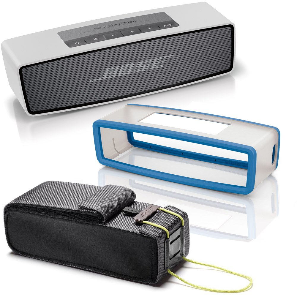 Bose SoundLink Mini Bluetooth Wireless Speaker w/ Blue Soft Silicon Cover & Travel Bag - Bundle bose soundlink bluetooth speaker iii