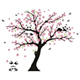 MAFENT Tree Wall Decals for Kids Room with Three Little Panda Bears Wall Stickers Nursery Wall Decals Room Decoration (Pink) (Color: Pink)