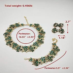 NABROJ Choker de Cristal Costume Jewelry for Women Vintage Statement Necklace Bracelet Earrings Set Green Jewelry 1 Set with Gift Box-HLN001 Green 3pcs Set (Color: HLN001 Green 3pcs set)