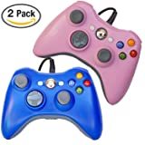 FSC Mixed Pack of 2 USB Wired Game Pad Controller for Use With Xbox 360, Windows 10 5 Colors (Blue/Pink)