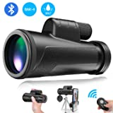 Monocular Telescope with Smartphone Holder - [2019 Newest] 12X50 High Power HD Monocular, Camera Shutter, Waterproof IPX7, BAK4 Prism, Tripod for Watching Wildlife Bird Hunting Camping Travel (Color: Black)