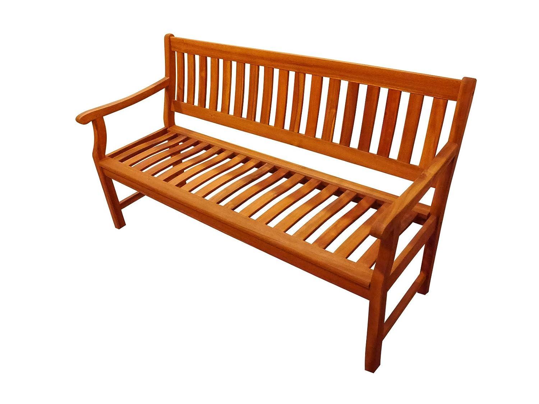Gartenbank New Jersey 157 cm, aus Massivholz Akazie, 3-Sitzer, Akazie-Holz-Bank für Garten Balkon Terrasse, Holz-Bank aus Akazieholz, Hartholz Garten-Möbel günstig