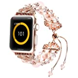 Fohuas for Apple Watch Band 38mm, Adjustable Crystal Beads Pearls iWatch Bracelet Fashion Womens Girls Jewelry Wristband Strap for Apple Watch Series 3 2 1 Nike+, Sport, Edition, Pink (Color: Pink-tassel, Tamaño: 38 mm)