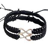 Shlonger 2Pcs Women Men Boys Girls Handmade Infinity Forever Lovers Friendship Braided Cuff Link Strentch Couple Bracelets black