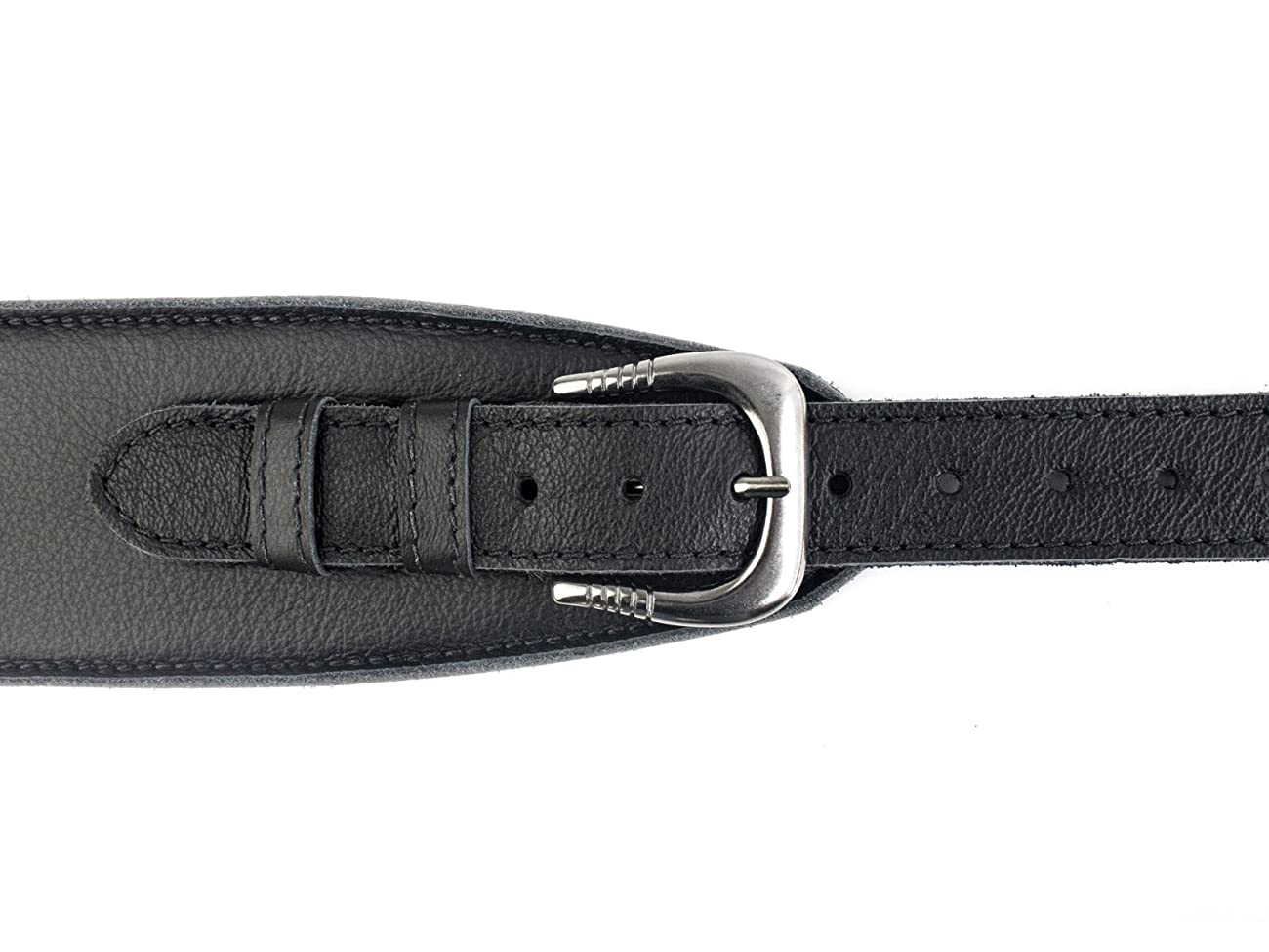 UK Made Black Vintage Extra Wide Soft Real Leather Guitar Strap with Buckle Adjustable Length 4