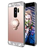 Galaxy S9 Case,Lozeguyc Crystal Rhinestone Mirror Glass Case Bling Diamond Soft Rubber Makeup Case for Samsung Galaxy S9 with Detachable 360 Degree Ring Stand--Rose Gold