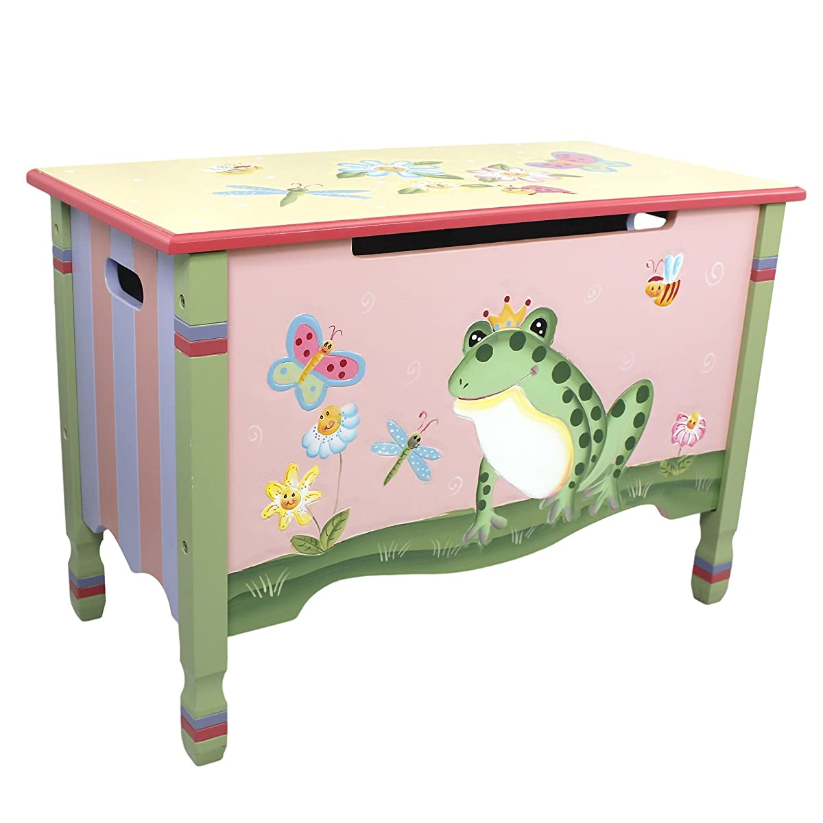 Magic Garden Thematic Kids Wooden Toy Chest with Safety Hinges | Imagination Inspiring Hand Crafted