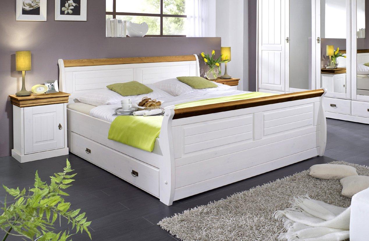 SAM ® Kiefernbett Rom mit Schubkasten 140 x 200 cm weiß – Honig im Landhausstil mit Bettkasten Holzbett gewachst. Lieferung mit Spedition teilzerlegt günstig