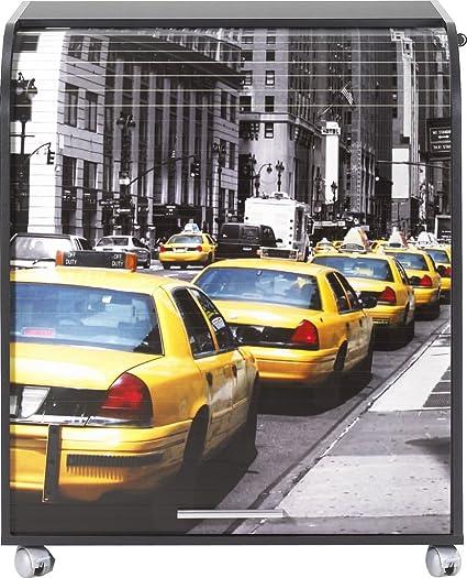Simmob MUST095NO503 taxi gialli 503 mobile informatica a rotelle con-Tenda, motivo: legno, 53,2 x 79,2 x proprietà al 93,8 cm