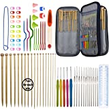 Bamboo Knitting Needles Set 36pcs Carbonized Afghan Needles 5pieces Ergonomic Crochet Hook Set 12 Small Size Aluminum Handle Hook with Sewing Tools Full DIY Craft Kits (Color: set of 91 knitting kits)