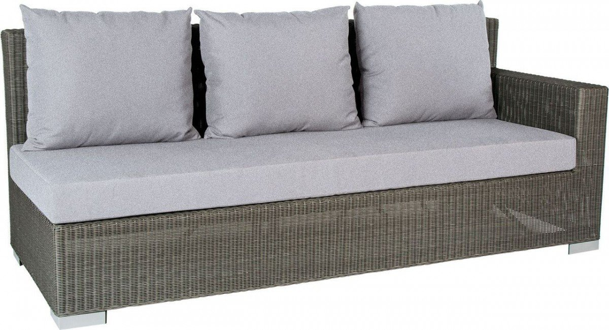 Dreams4Home Lounge Sofa 'Quincy I' – Sofa, Loungesofa, Balkonsofa, Gartensofa, Chaiselong, Terrassenmöbel, Loungemöbel, Cocktailmöbel, B/H/T: 207 x 88 x 87 cm, Gartenmöbel inklusive Kissen, Rattan, Aluminiumgestell, in grau jetzt kaufen
