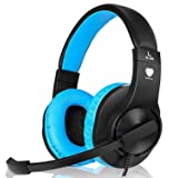 Headset Gaming for PS4 ,Xbox One Gaming Headset ,Wired Noise Isolation, Over-Ear Headphones with Mic ,Stereo Gamer Headphones 3.5mm(Blue) (Color: Blue)