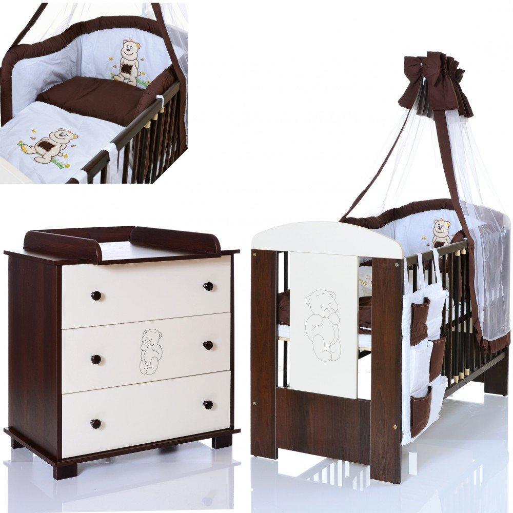 Bär braun Baby Kinderzimmer Komplett Möbelset 120x60 Bett + Matratze, Wickelkommode mit Ablage und 9 Teile Bettwäsche Set