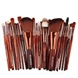 Indexu 22 Pcs Professional Eyeshadow Brushes Set Eyeliner Lip Mascara Brushes Makeup Brush Tools Rosewood Color (Color: Rosewood Color)