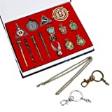 Bescar 15PCS in One Set Harry Potter Magic Wand Hogwarts House Badge in Gift Box with Keychain Necklace (15PCS) (Tamaño: 14PCS)
