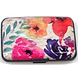 Latest Aluminum RFID Blocking Credit Card Holder for Men Women - Stylish Travel Wallet - Best Protection for Bank Debit, ID, ATM, Cards Against Scanning Criminals,Flowery Print (Color: Aflowery Print)