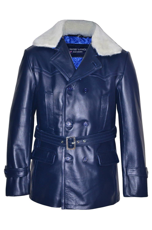 Man Dr Who Blau echtem Rindsleder Reefer Stil abnehmbare Pelzkragen Jacke Alle Größen jetzt kaufen