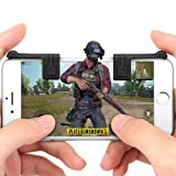Mobile Game Controller PUBG Joystick Gamepad Sensitive Shoot Aim Triggers for PUBG/Knives Out/Rules of Survival Mobile Gaming Trigger Joystick for Android iOS (Color: black)