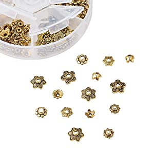 Pandahall 1Box/180pcs Tibetan Style Alloy Flower Petal Bead Caps Beads Spacers for Jewelry Makings 7-10mm in Diameter Antique Golden TIBE-JP0002-AG (Color: 7~10mm-golden, Tamaño: one size)