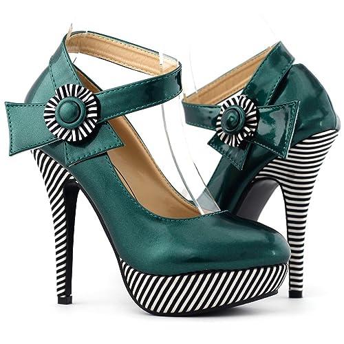 Show Story Sexy Flower Ankle Strap Stripe Stiletto Platform Pumps Shoes