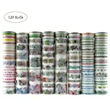 Dizdkizd 120 Rolls Washi Tape Set with 5 Sizes, Decorative Masking Tape for DIY Craft Scrapbooking Gift Wrapping (Color: A120)