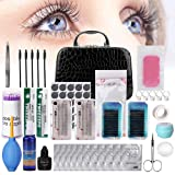 Eyelash Extension Kit, TopDirect 22pcs False Lashes Eyelashes Extension Practice Set Tools Curl Glue with Cosmetic Case for Makeup Practice Eye Lashes Graft, Lash Beginners Kit (Tamaño: 22 PCS Eyelash Extension Kit)