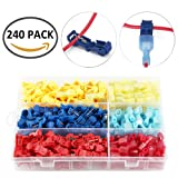 240pcs T-Tap Wire Splice Connector Quick Electrical Connectors - Quick Wire Splice Taps and Insulated Male Quick Disconnect Terminals With Case