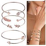 Suyi 4 Pcs Adjustable Cuff Bracelet Open Wire Bangle Stackable Wrap Bracelet Set for Women Girls Rosegold (Color: Rose Gold)