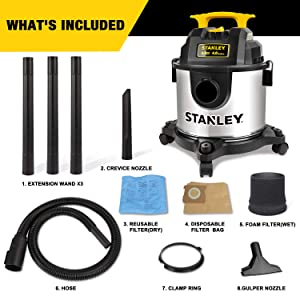 Stanley 4 Gallon Wet Dry Vacuum, 4 Peak HP Stainless Steel 3 in 1 Shop Vac Blower with Powerful Suction, Multifunctional Shop Vacuum W/ 4 Horsepower Motor for Job Site,Garage,Basement,Van,Workshop (Color: Silver+yellow, Tamaño: 4 Gallon)